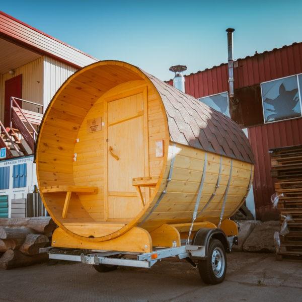 Баня-на-колёсах 2 метра в длину и 2.2 в диаметре установленная на прицепе Экспедиция